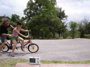 Tam and I weren't very good on the tandem bicycle, but it was a hell of a lot of fun