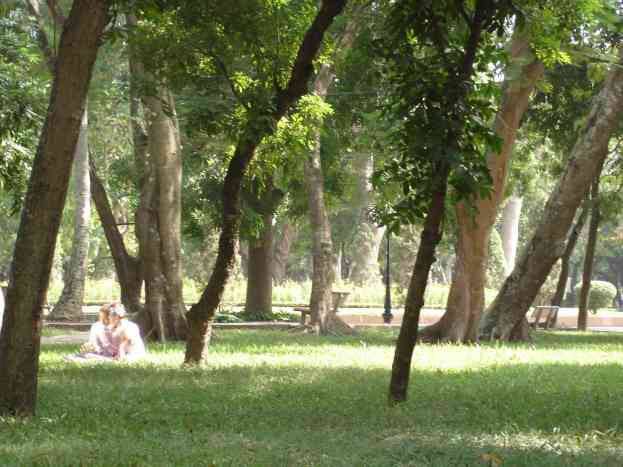 A happy married couple in one of Hanoi's many beautiful parks