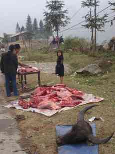 A road-side butcher in the mountains