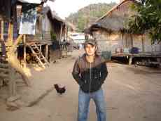 Luke in our tiny 'rat-eating' village