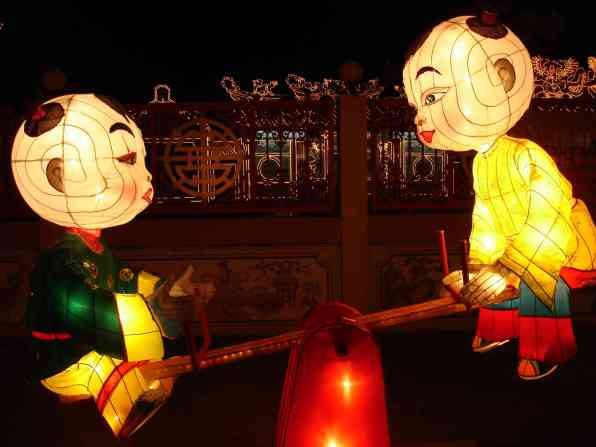 Some lanterns set up in anticipation of Songkram, the Buddhist water festival