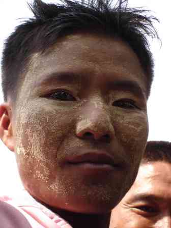 Many Thai hilltribe people use some sort of paste as protection from the sun