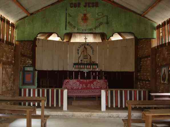 Inside the tiny church in Ban Nai Soi