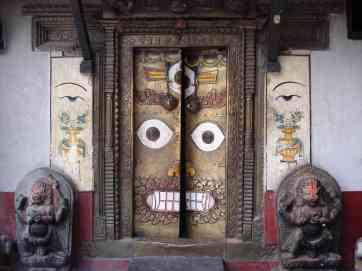 A temple door in Kathmandu