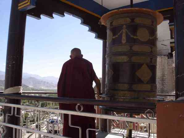 A monk at Spituk Gompa