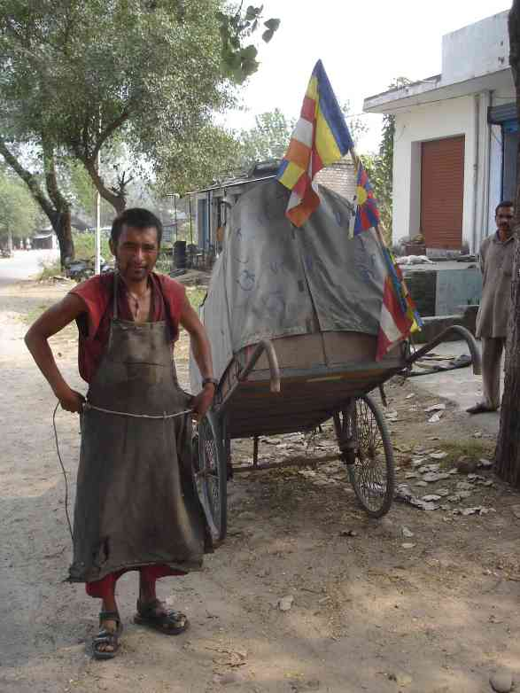 A Tibetan adventurer pulling his cart from Tibet through Northern India that I met