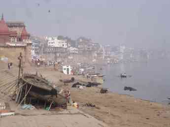 Life teems on the ghats in Varanasi