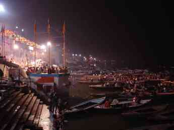 The elaborate nightly puja held aong the ghats in Varanasi