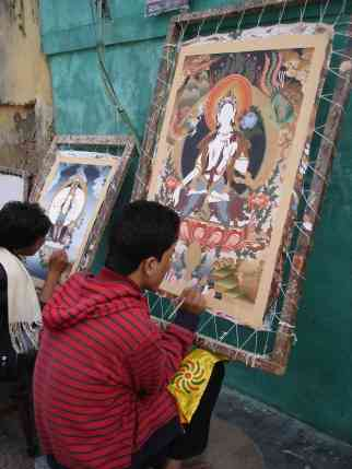 Tibetan thangkas in the making