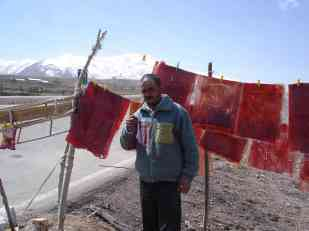 A man selling home-made fruit 'roll-ups' on the road in north-west Iran