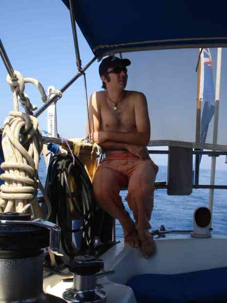 Relaxing aboard Tehani-Li